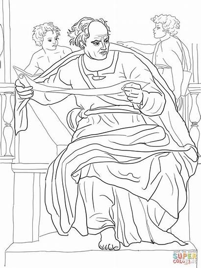 Coloring Prophet Michelangelo Joel Profeta Sistine Chapel