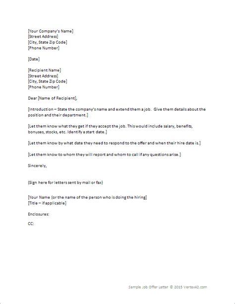 Job Offer Letter Template For Word