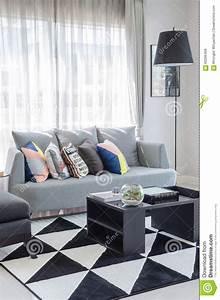 Salon Gris Blanc : ton noir et blanc de couleur de salon avec le sofa gris moderne photo stock image du ~ Dallasstarsshop.com Idées de Décoration
