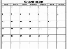 November 2018 Calendar Fillable Calendar Template Letter
