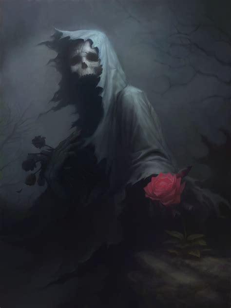 drawing death fantasy art rose skull dark wallpapers