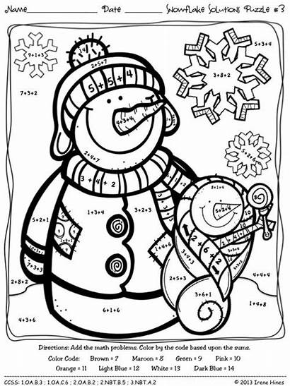 Math Winter Puzzles Number Code Snowflake Printables