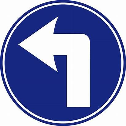 Turn Left Road Ahead Mandatory Svg Tiedosto