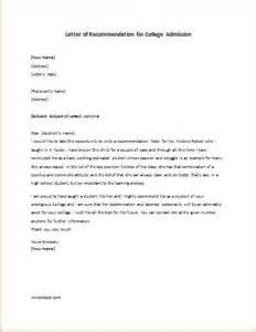 letter of re mendation for college admission