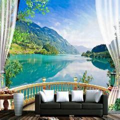 3d papel de parede natureza varanda floresta lago azul da papel de parede personalizado