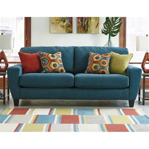 queen size sleeper sofa ashley sagen fabric queen size sleeper sofa in teal