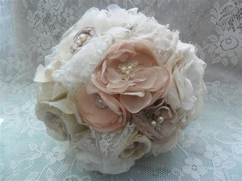 shabby chic bridal bouquet bridal bouquet wedding brooch bouquet vintage wedding fabric wedding flowers chagne blush
