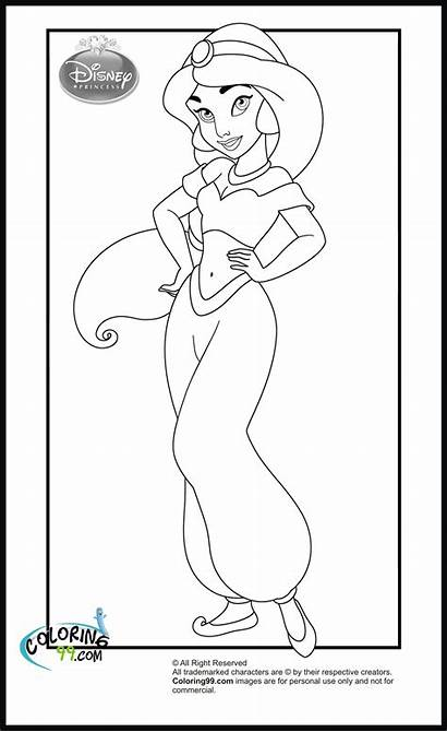 Princess Disney Coloring Jasmine Pages Clipart Library