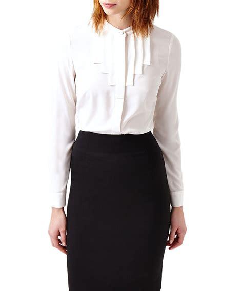 austin reed ivory pleated blouse designer