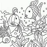 Fish Pond Colouring Coloring Pages Scales Picolour sketch template