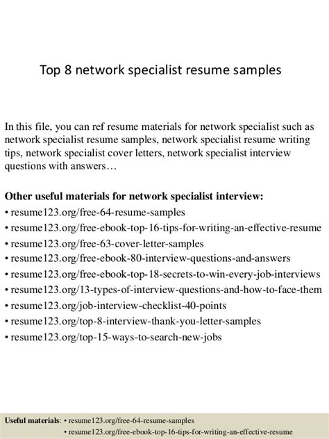Network Specialist Resume Exle by Top 8 Network Specialist Resume Sles