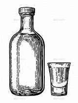 Tequila Glass Bottle Graphicriver Engraving Botlle Vector Drawing Morevector Botellas Bottles Agave Cola Tattoo Coca Drawings Invitation Label Poster Seamless sketch template