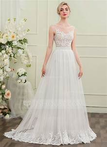 a line princess scoop neck sweep train tulle wedding dress With scoop neck wedding dress
