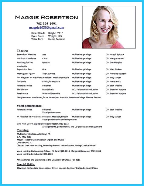 Opera Singer Resume by Acting Resume Sle Presents Your Skills And Strengths In