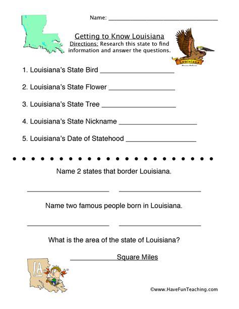 louisiana worksheets  fun teaching