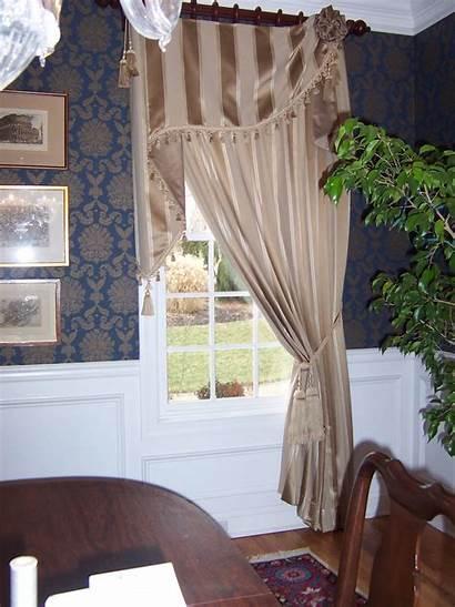 Window Asymmetrical Dining Oriental Treatments Curtain Damask