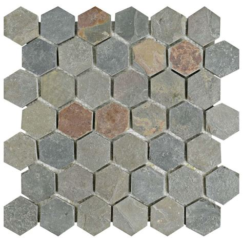 home depot merola hex tile merola tile crag hexagon multi slate 12 in x 12 in x 9