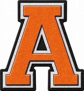 presentation alphabets orange varsity letter a With varsity letter alphabet