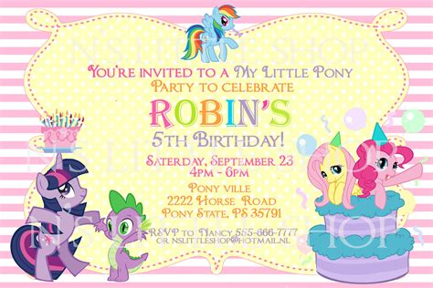 pony inspired birthday invitation card