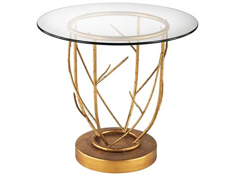 Dimond Home Thicket 22'' Round Gold Leaf & Clear Glass End
