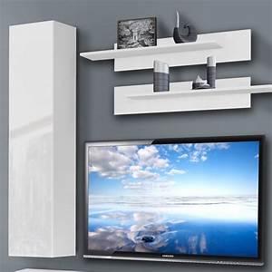 Meuble Tv Mural Blanc : meuble tv mural ledge iv 200cm blanc ~ Dailycaller-alerts.com Idées de Décoration
