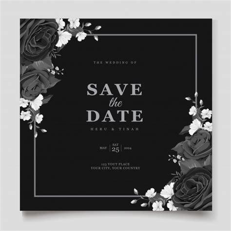 Elegant black floral wedding invitation card template