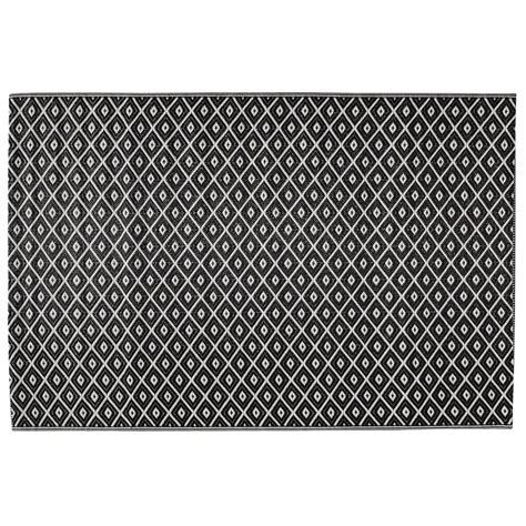 chambre ado originale tapis d 39 extérieur en polypropylène noir blanc 120 x 180 cm