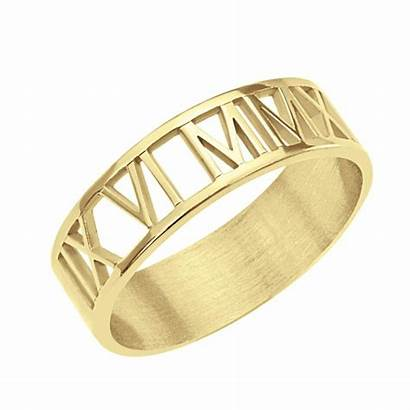 Roman Numeral Ring Cutout 6mm Jewelry Couples