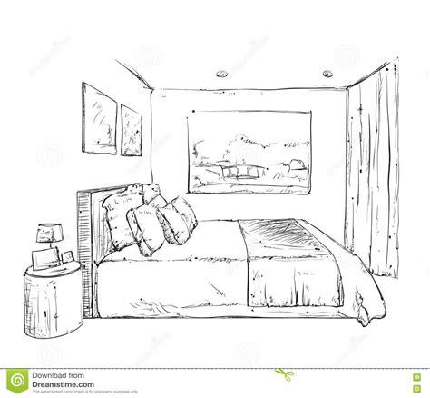 croquis de chambre croquis tiré par la d 39 intérieur de chambre à coucher