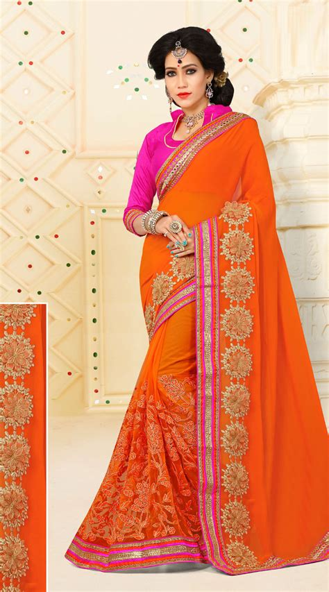 heavenly floral embroidered orange saree vb11106a29