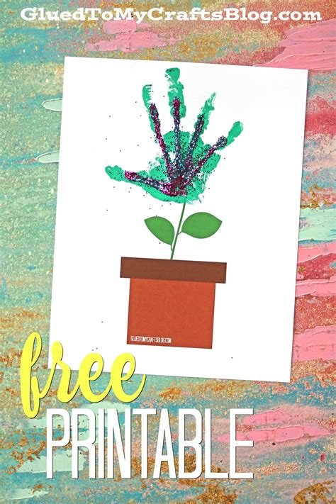 simple handprint flower pot kid craft glued   crafts