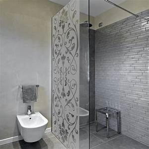 sticker depoli pour paroi de douche arabesque coeur With porte de douche coulissante avec stickers occultant fenetre salle de bain