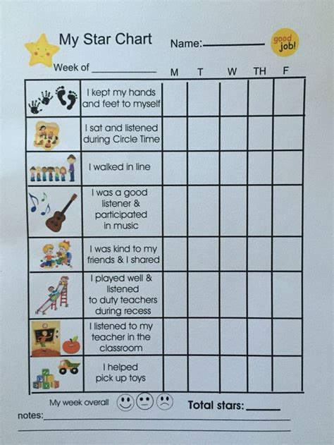 toddler positive behavior star chart behavior chart