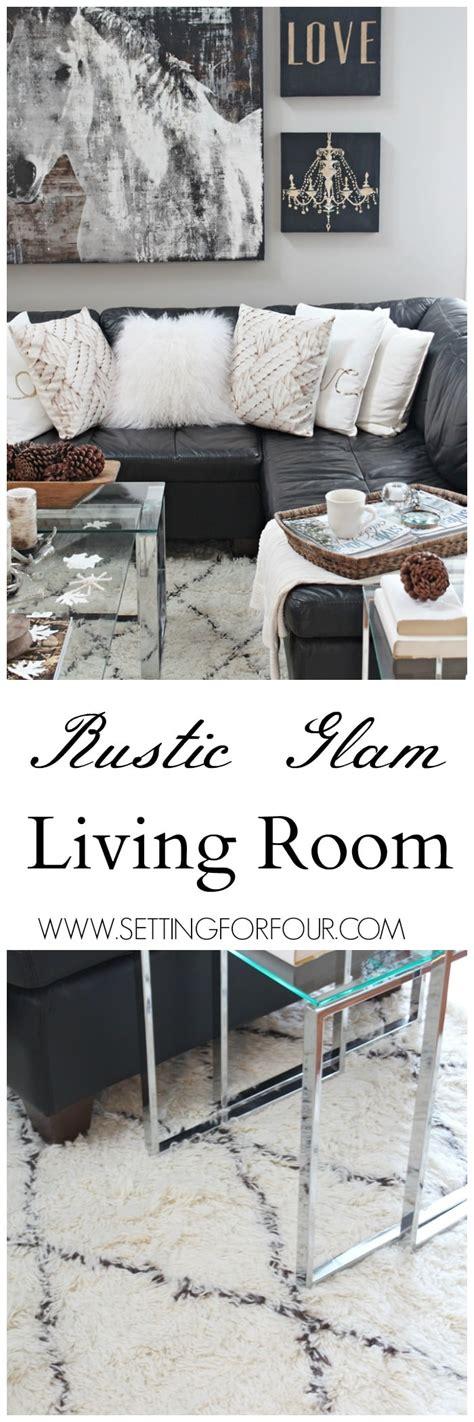 rustic glam living room  rug setting