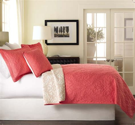 Bedding Coverlets by Matelasse 3pc Luxembourg Coral Pink White Reversible