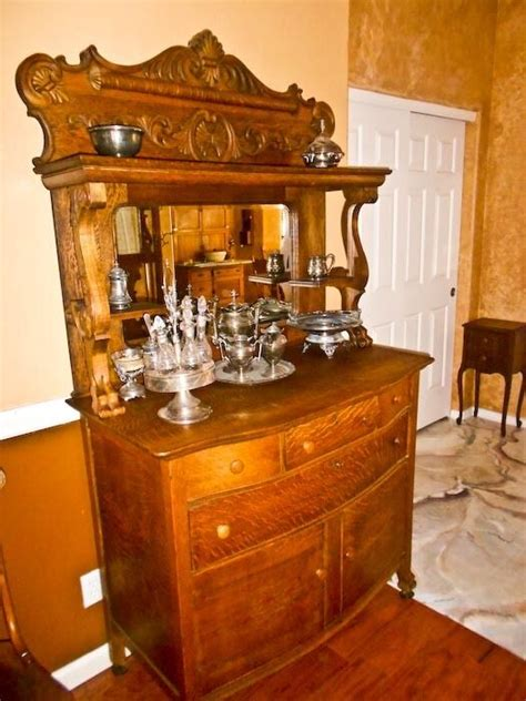 Antique Oak Sideboard Buffet With Mirror by Antique Sideboard Buffet Cross Sawn Oak Cupboards Drawers