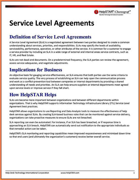 training service level agreement template purchase