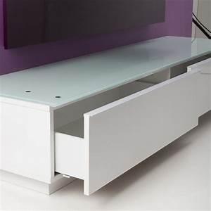 Meuble Pour Verre : meuble tv bas blanc table tv en verre maisonjoffrois ~ Teatrodelosmanantiales.com Idées de Décoration