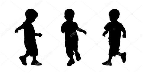 Niño Corriendo Siluetas Set 3 — Foto De Stock