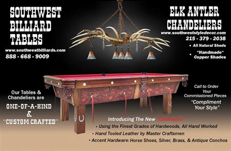 hand  elk antler chandelier  pool table