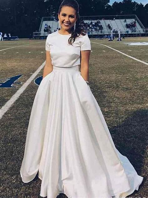 Two Piece Satin Wedding Dress Cheap Plus Size Ivory ...