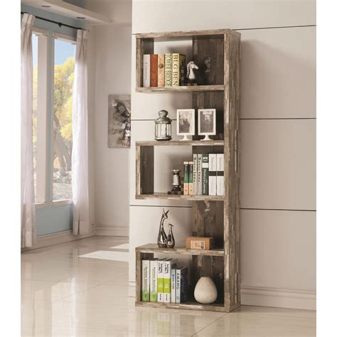 coaster bookcases open bookcase with distressed finish value city furniture open bookcases
