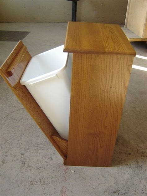 wooden tilt  trash cans images  pinterest