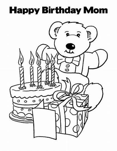 Birthday Coloring Happy Mom Pages Via