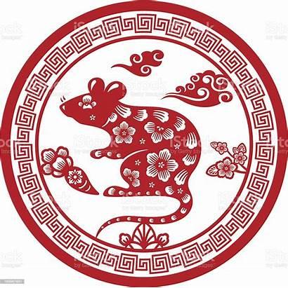 Rat Zodiac Chinese Sign Papercut Vector Culture