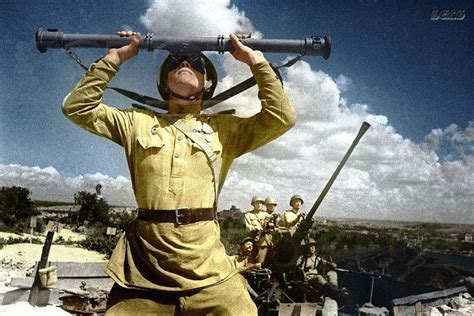 soviet soldiers  world war   color english russia