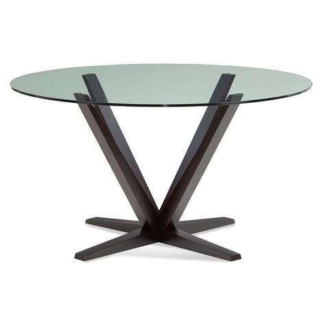 Aura 48 Inch Chocolate Round Glass Top Dining Table Saloom