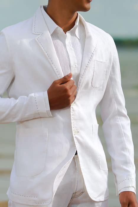 mens custom white linen suit beach weddings grooms