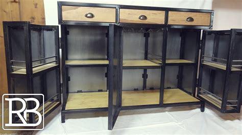 meuble cuisine en metal fabriquer un meuble metal et bois minibar buffet 2 2 diy