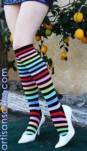 K Bell Rainbow Striped Knee High Stockings